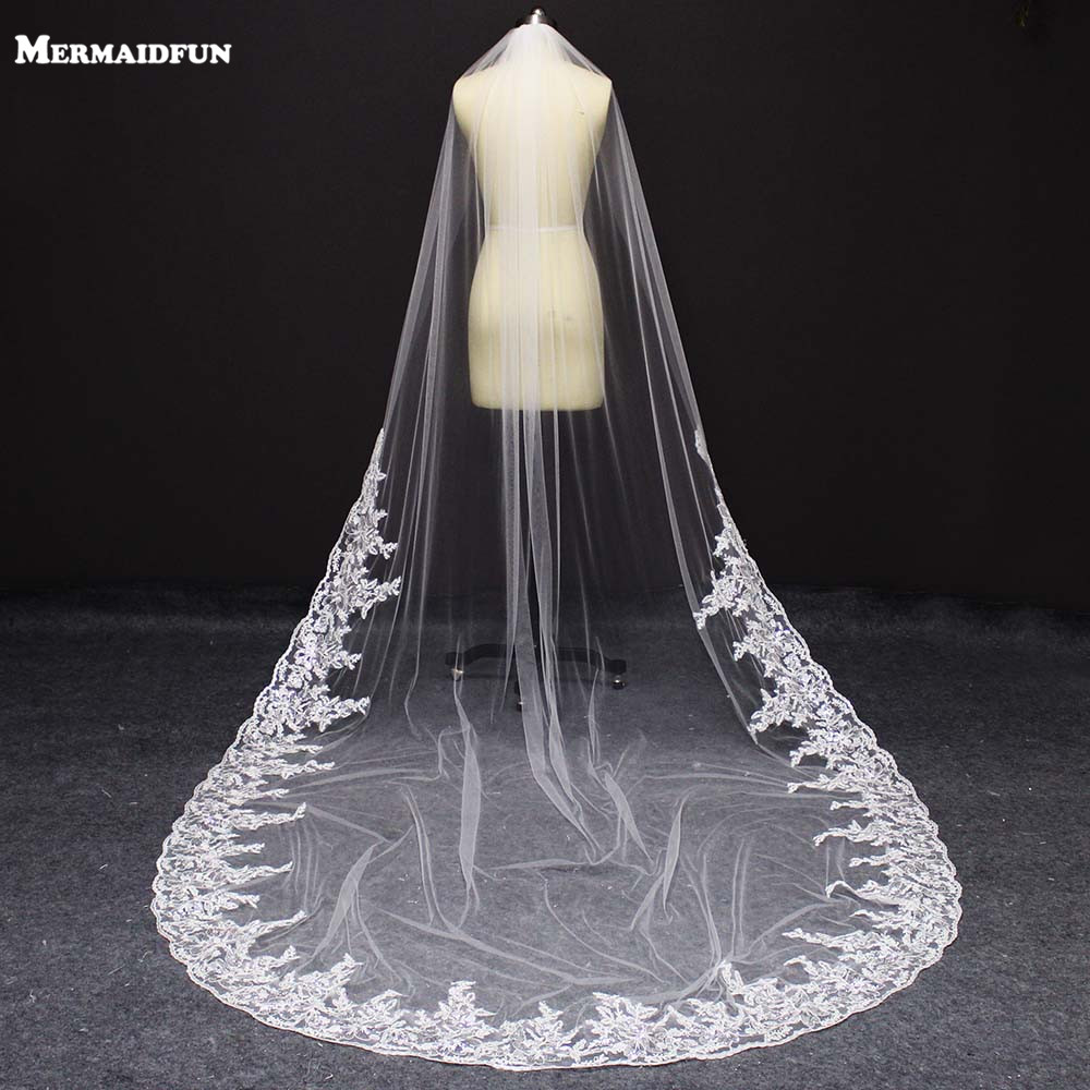 Real Photos Bling Sequins Partial Lace Edge One Layer Cathedral Wedding Veil With Comb Elegant Bridal Veil Velo De Novia