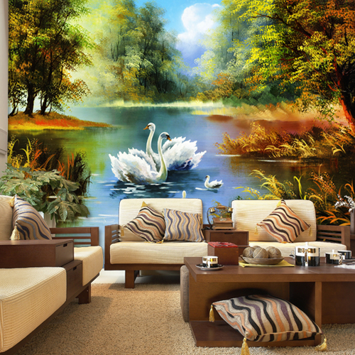 Customized european-style three-dimensional large murals sitting room porch bedroom TV background wall paper seamless forever