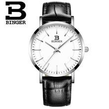 Switzerland Binger relogio masculino Watch Leather Ultra Thin Quartz Lady Watches Top Brand Luxury Casual Waterproof Wristwatch
