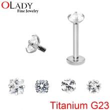 2016 NEW [100% Titanium G23] Fashion Labret Cartilage Tragus Ear Lip Piercing Prong AAA Zircon Gem Piercing Body Jewelry