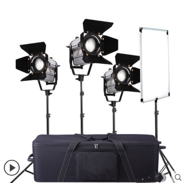 Photography 3pcs 150W Dimmer LED Studio Video Fresnel Spotlight with Wireless Remote+Light Stand+Carry Bag+Flag Reflector