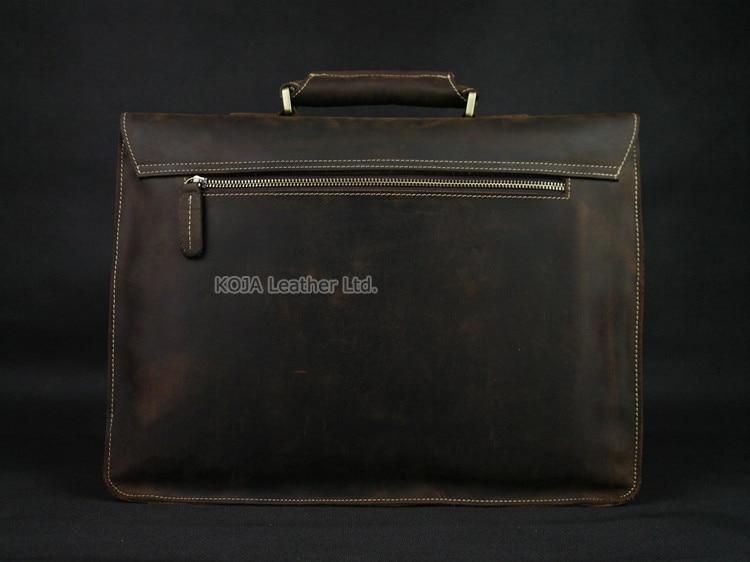 Vintage Crazy Horse Leather Men Briefcase Laptop Bag Work Business Bag Genuine Leather Briefcase Men Shoulder Bag Crossbody bag 4