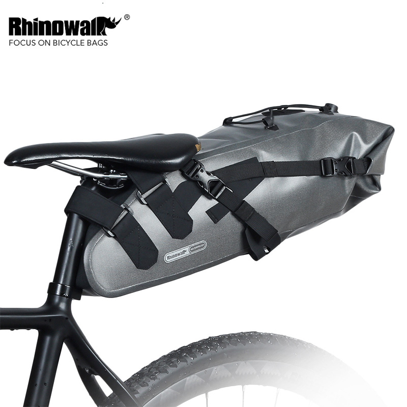Rhinowalk New Short Riding Bike Bag Full Waterproof Bicycle Saddle Seat Bag Pouch Wear-resistance MTB Bike Pouch 10L rhinowalk 10l 100% waterproof bike saddle bag seat bike mountain bike accessories
