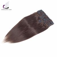 SHENLONG HAIR Weaving Straight Remy 100 Human Hair Weaving Mongolian 4 Clip In Hair Extensions 9pcs