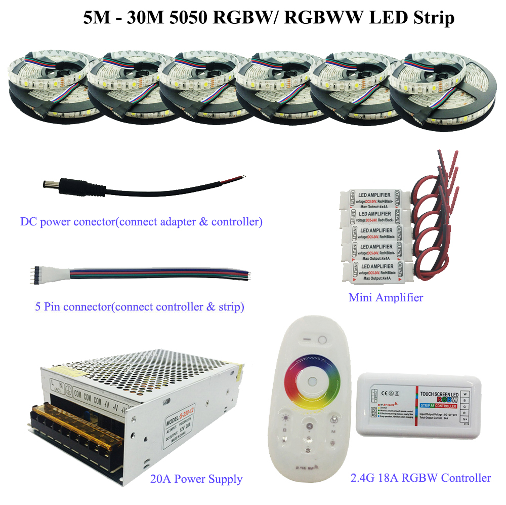 5M-30M 5050 RGBW/RGBWW LED Strip Set With 2.4G Touch Screen RF Remote Controller+12V Power Supply Adapter+Amplifier