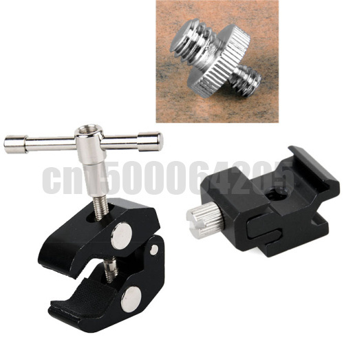 3 in 1 Large supper clamp + 1/4 to 3/8 Adapter Screw + Metal Adjustable Flash Hot Shoe Mount Adapter