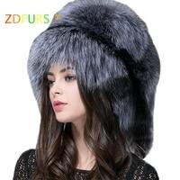 ZDFURS * Autumn and winter Women 's Genuine raccoon dog russian fur hat real fox fur hat dome mongolian hat