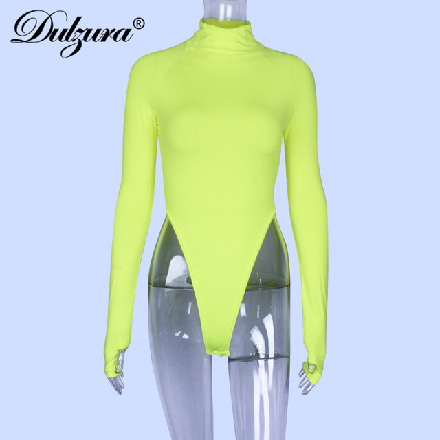 Dulzura high neck long sleeve high waist neon bodysuit 2019 autumn winter women sexy skinny stretch body clothing 10