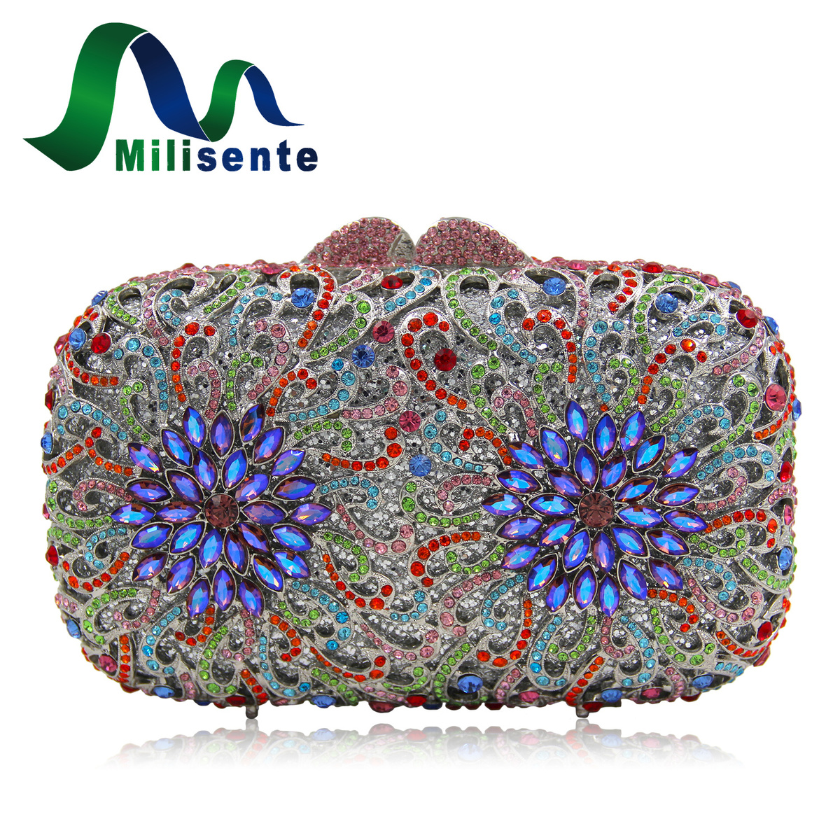 Milisente Multicolored Women Fashion Crystal Clutch Evening Purse Handbag Bridal Shoulder Bag With Floral Pattern купить