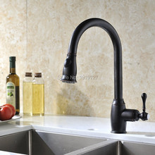 Oil Rubbed Bronze Pull Out Kitchen Sink Faucets Traditional Brushed Nickel Single Handle Rotatable Pullout Spray Kitchen Faucet