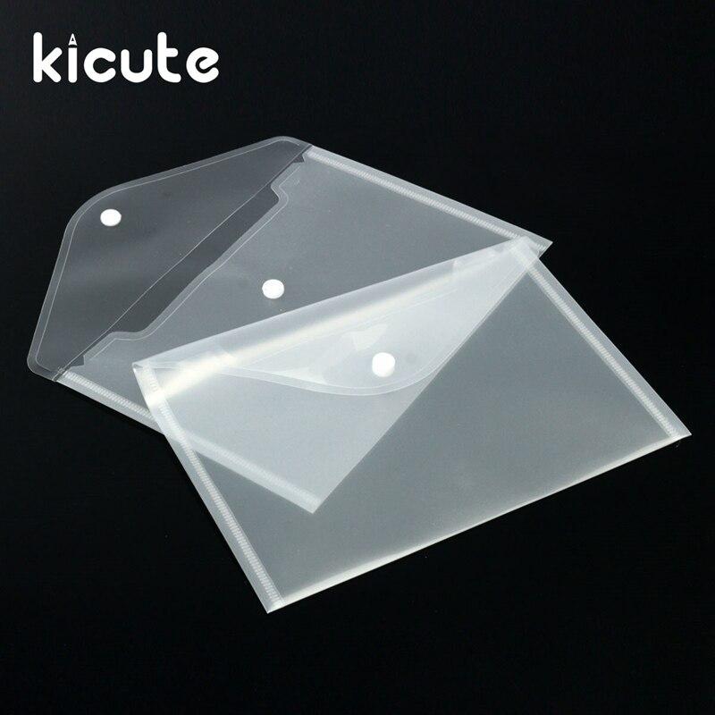 Kicute 12pcs Transparent Plastic A5 Folders File Bag Document Hold Bags Folders Filing Paper Storage Office School Supplies