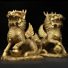 Feng Shui Set of Two Golden Brass Chi Lin/Kylin Wealth Prosperity Statue  Home Decoration Attract and Good Luck