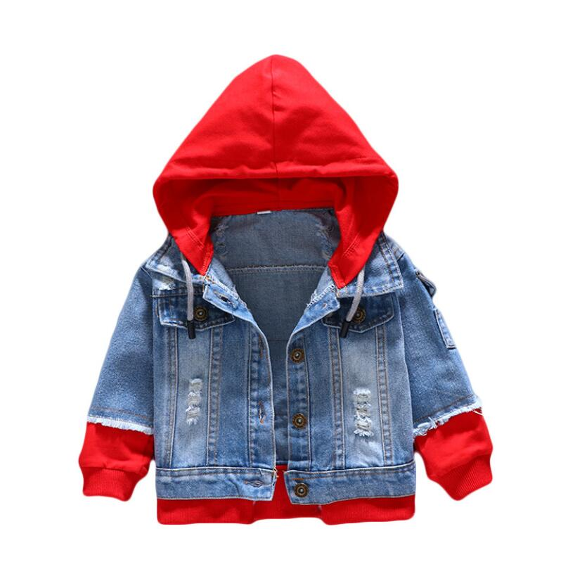 Boy girl Denim Jackets kids jeans coat Children splice Outerwear clothing Spring Autumn boy hooded sport Clothes For 1-6T kids 6