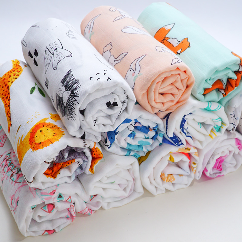 Blankets Newborn Swaddle Baby Bath Towel Baby Wrap Muslin Diaper Cartoon Animal Print Bedding Set Stroller Baby Accessories