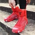 Los Hombres de la primavera Zapatos de Los Hombres Altos Zapatos Superiores Ocasionales Cesta Caminar Trotar Zapatos Respirables de Los Hombres Entrenadores Superestrella Zapatillas Hombre