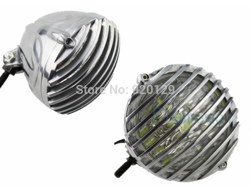 Motorcycle Motorbike Moto Parts Aluminum Scalloped Finned Grill Led Headlight For Harley Chopper Tri XS650 Bobber