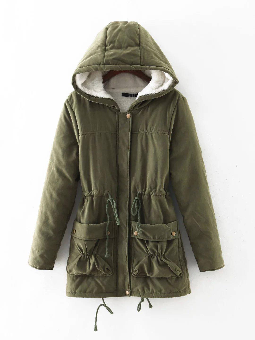army Black Green Warm Casual Women navy Medium Outwear Padded Long Jackets Winter New Hooded pink Cotton Snow khaki Blue Parkas O6qR5