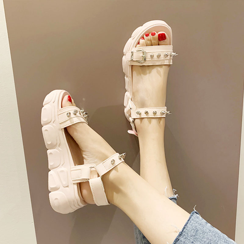 Muffins shoe Beige Heeled Sandals Clogs Wedge Fashion Womens Shoes 2019 Clear Heels Slippers Buckle Strap Flat Black With On