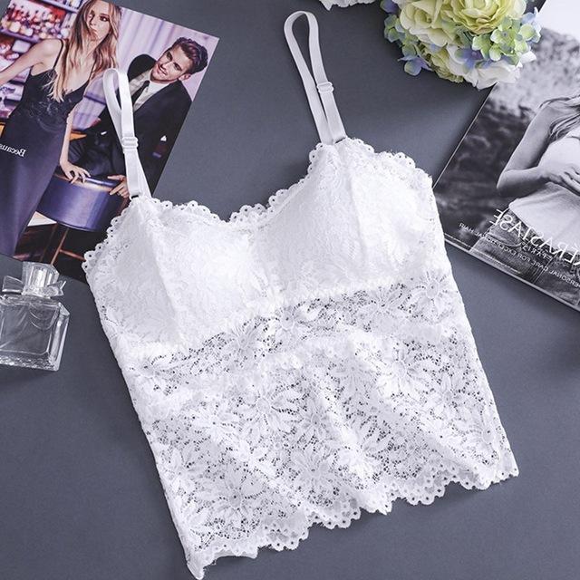 Women Hollow Out Lace Nightclub Cami Bralette Crochet Lace Tube Top Gather Tanks Top Camisoles
