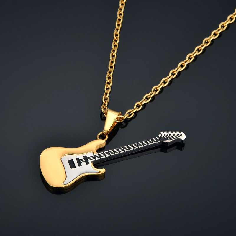 et musical red necklace jewelry and white electric guitar guitare collier blanche en noire