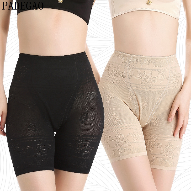 PADEGAO black seamless safety short pants plus size thin body shaping floral printing jacquard safety pants shorts under skirts