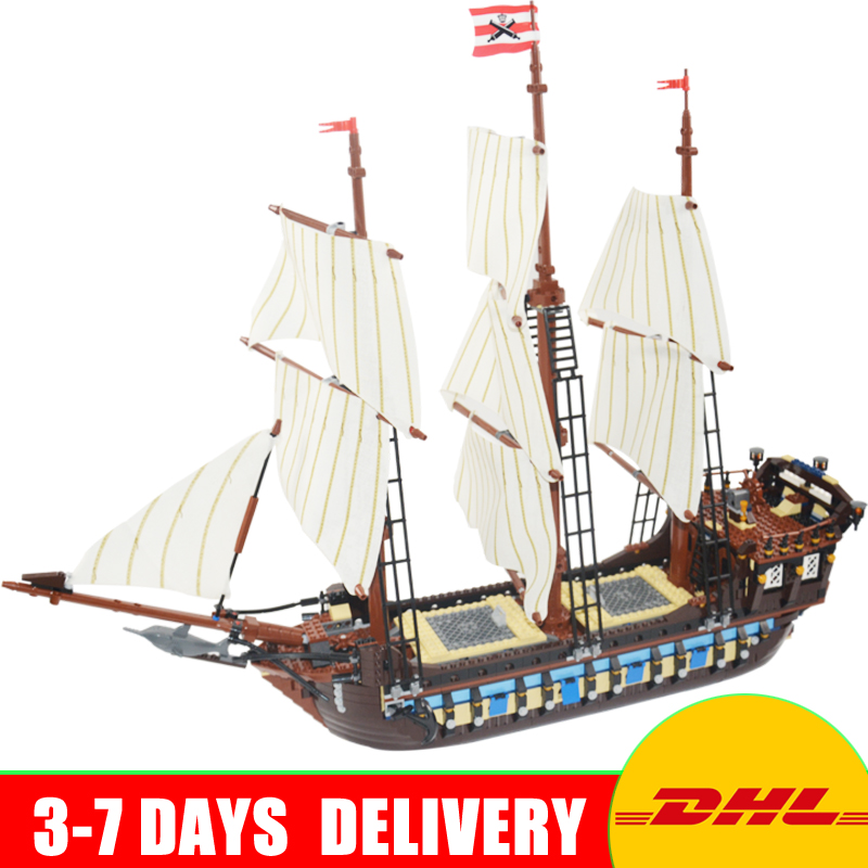 In Stock LEPIN 22001 Pirates Series The Imperial Flagship Model Building Blocks Set Pirate Ship Toys For children 10210 lepin 22001 pirates series the imperial war ship model building kits blocks bricks toys gifts for kids 1717pcs compatible 10210