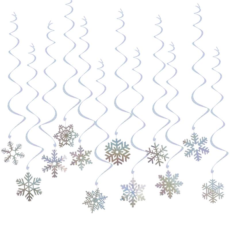 6pcs 27cm Christmas Tree Honeycombs Tissue Paper Trees: 24pcs Hanging Snowflakes And 6pcs Foil Swirls Banners For