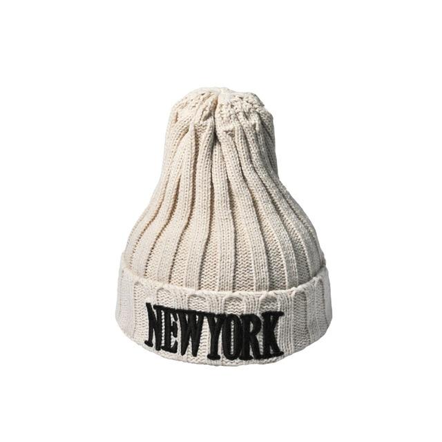 2017 Letra NY sombrero pasamontañas para mujer gorros de Punto de ...