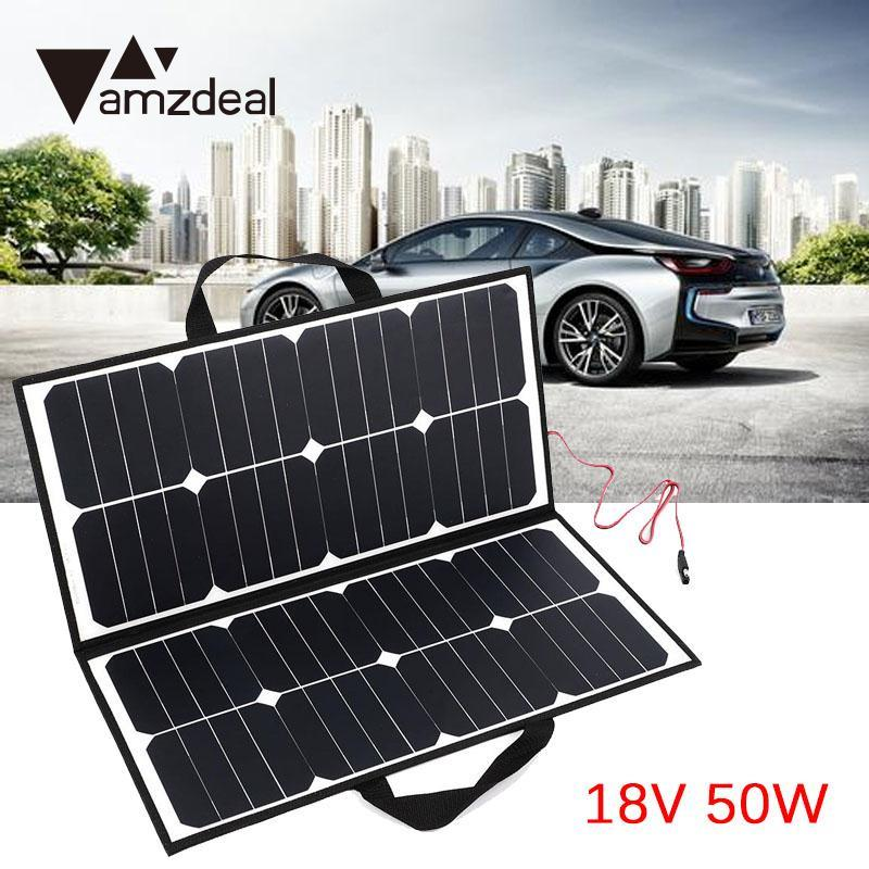 amzdeal 50W 18V Camping Waterproof Folding Solar Panel Charger For Battery Outdoor Travelling Powerbank Solar Cell DIY Module