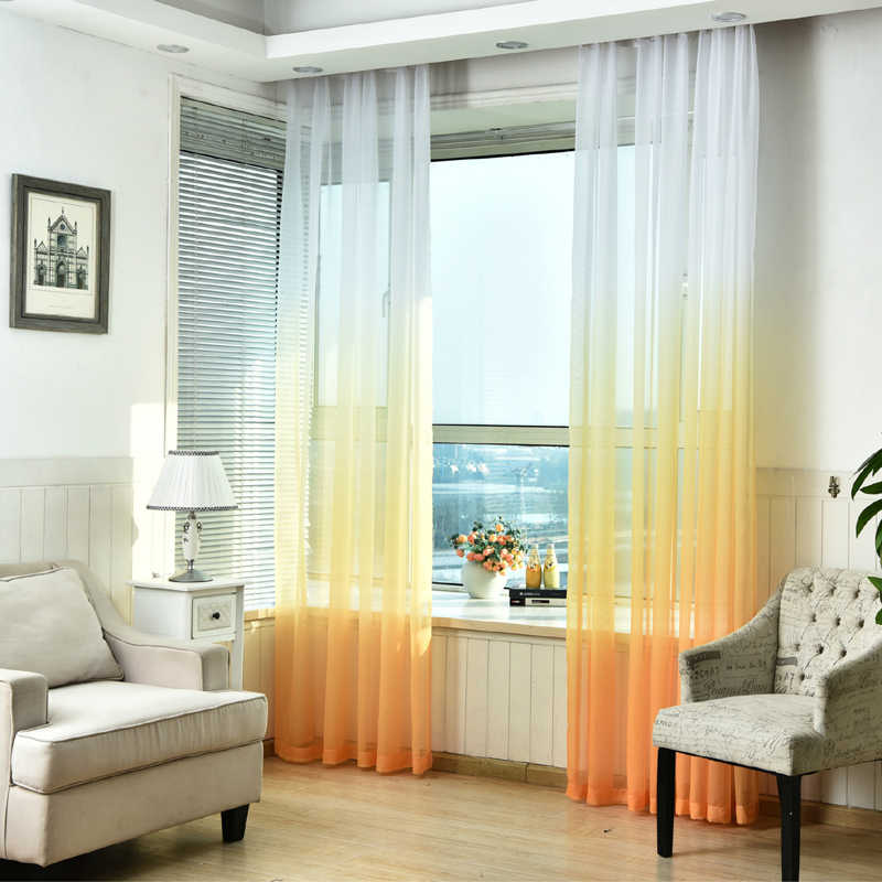 Curtains Gradient Color Print Voile Gray Window Modern Living Room Curtains Tulle Sheer Fabrics Rideaux Cortinas