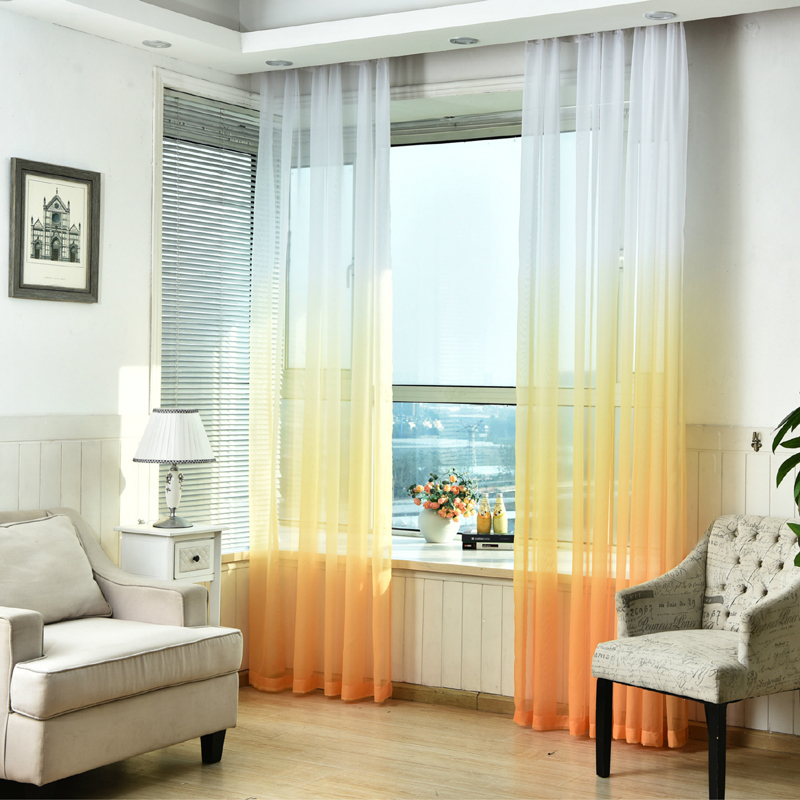 Curtains Gradient Color Print Voile Gray Window Modern