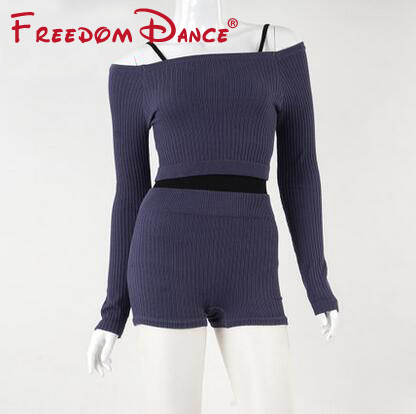 2019 Women Sport Sweater Set Strapless Collar Jumpers And Short Pants Ballet Dance Clothes Warm Ups Wear Gymnastics Clothes
