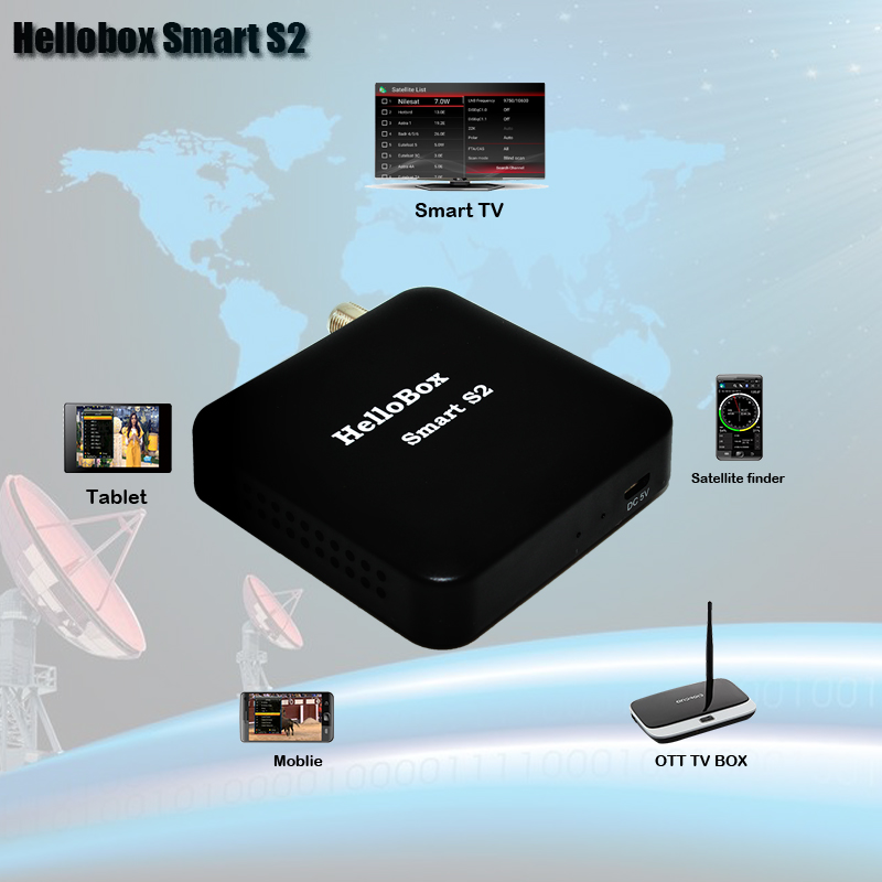 Hellobox Smart S2 Receiver Satellite DVBS2 Satellite Finder Support Mobile Phone/Smart TV/Android TV BOX Play Support CCCAM