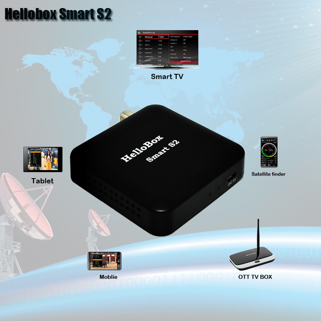 Hellobox Smart S2 Receiver Satellite  Satellite Finder DVBPLAY APP Support Mobile Phone/Smart TV/TV BOX/PC/Tablet Play