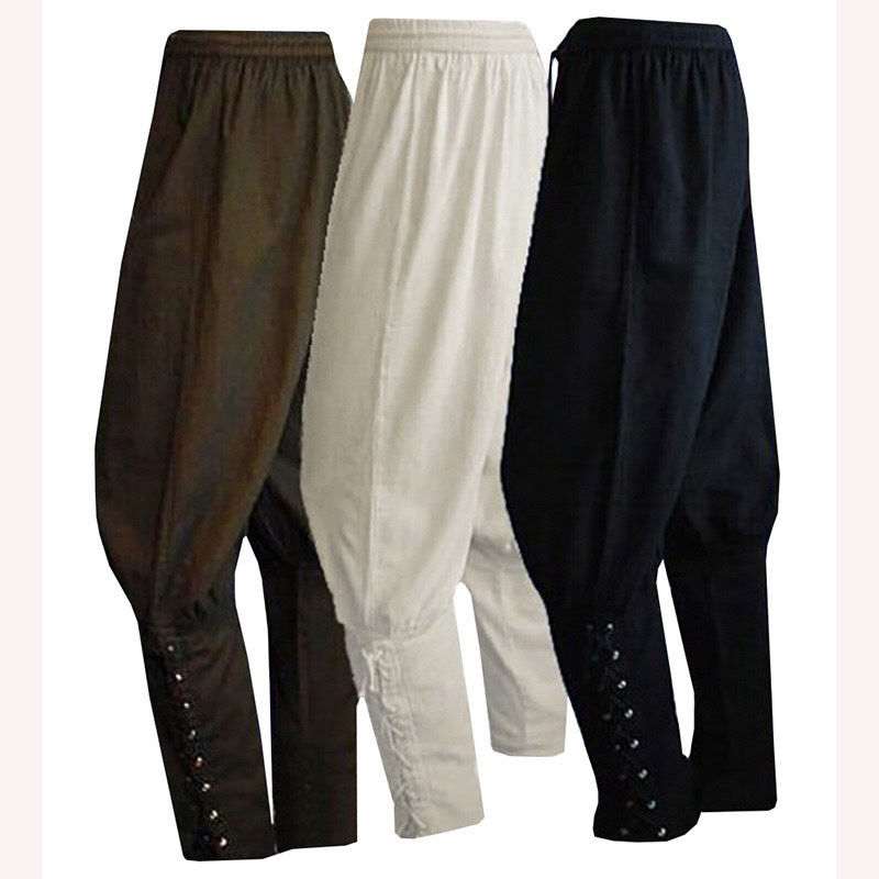 2018 new medieval Mens Medieval Renaissance Pirate Horseman Costume Loose Pants Viking Trouser