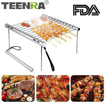 TEENRA Folding BBQ Grill Outdoor Stainless Steel Barbecue Grill Portable Camping Grill For Charcoal Outdoor Accessories