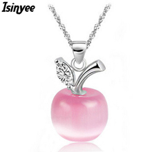 ISINYEE fashion cute crystal apple pendant silver chain fruit necklace for women girls elegant jewelry valentines day gift