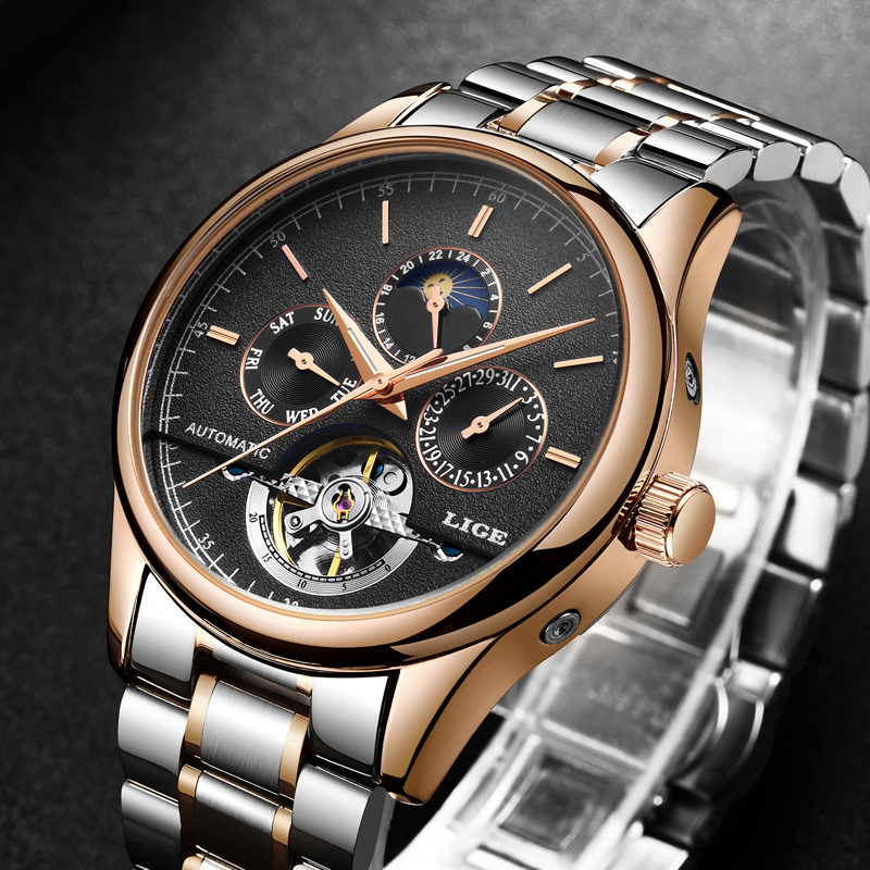 LIGE Mens Watches Top Brand Luxury Automatic Mechanical Watch Men Business Waterproof Full Steel Sport Watches Relogio Masculino men watches lige top brand luxury men s sports waterproof mechanical watch man full steel military automatic wrist watch relojes