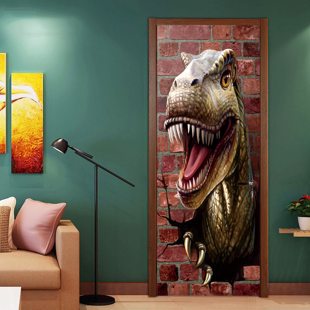 Custom Size/77x200cm Ferocious Dinosaur 3D Door Sticker PVC Self-adhesive Wallpaper DIY Waterproof Mural Decals For Kid Bedroom