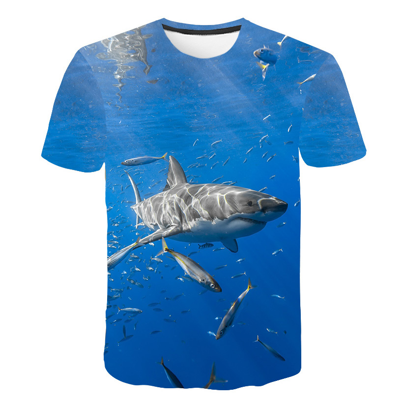 2019 New Men Leisure 3D Print   t     shirt   Funny Shark printed Surfing men and women tshirt Harajuku Fish 3D   T  -  shirt   Asian size s-6xl
