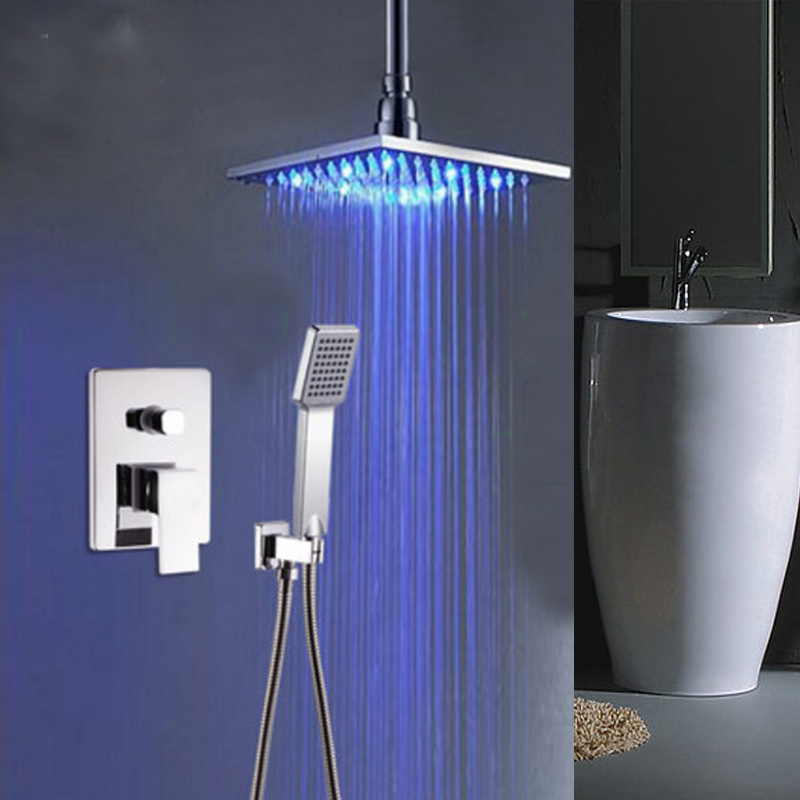 Фото LED Ceiling Mount Brass Square Rain Shower Head Single Handle Hand Shower Tap. Купить в РФ