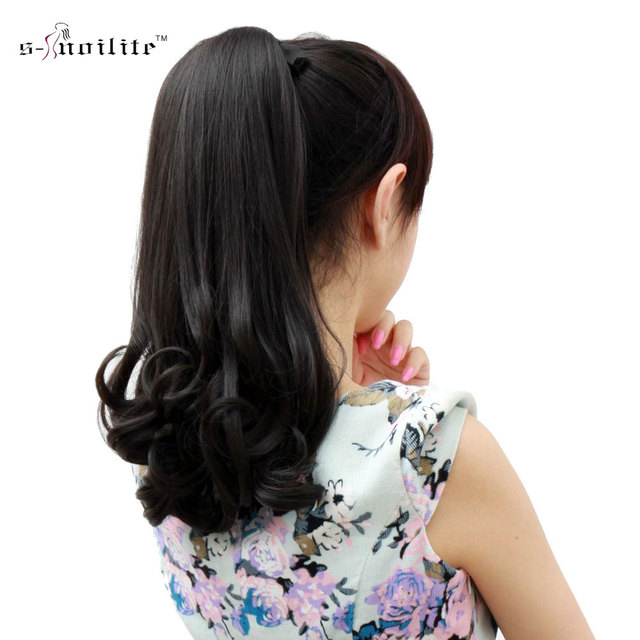 Snoilite synthetic women claw on ponytail clip in hair extensions snoilite synthetic women claw on ponytail clip in hair extensions curly style pony tail hairpiece black pmusecretfo Choice Image
