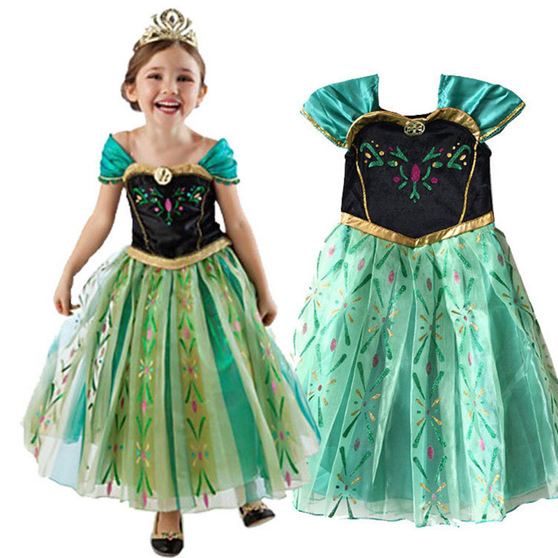 Sleeveless Cinderella Princess Dress for Girl Cosplay Snow White Grinch Dress Rapunzel Aurora Party Halloween Costume