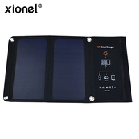 Xionel 15W 5V Dual USB Solar Phone Charger Portable Solar Panel Waterproof Shockproof Dustproof Foldable Solar Charging Bag