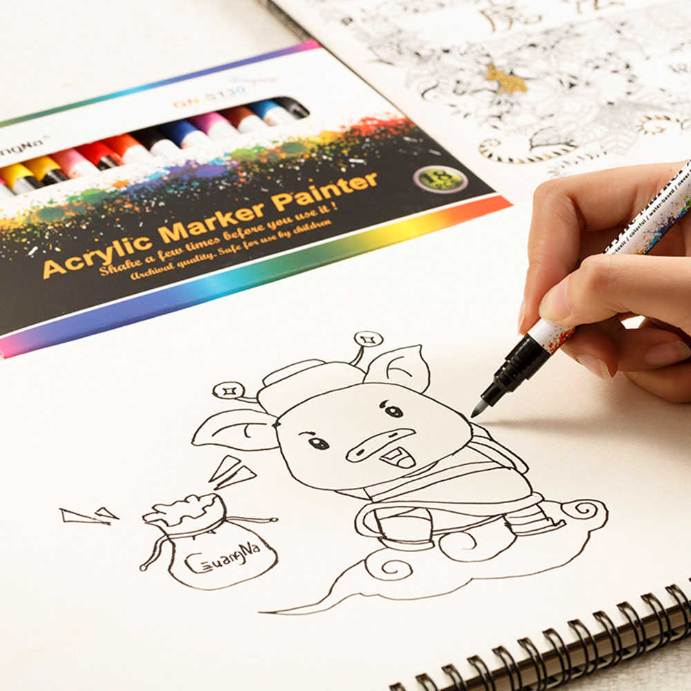 18 di colore Nero Carta Da Disegno di Firmare FAI DA TE Arte Dei Graffiti Micron Penna Vernice di Colore del Metallo Marker per Album Decor Scuola Ufficio forniture