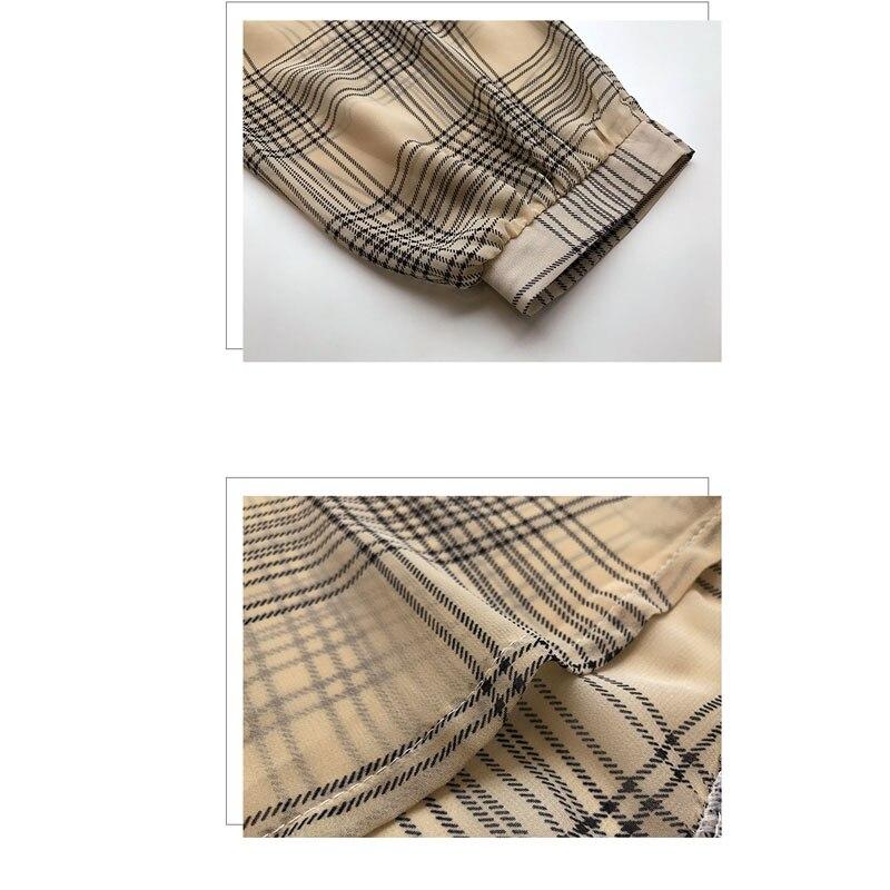 long sleeve female shirt striped plaid OL women blusas 5