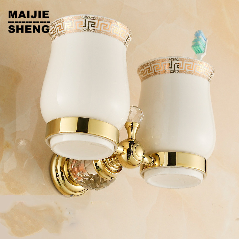 Free Shipping Crystal+ Brass+Ceramic cup Bathroom Accessories Gold double cup Tumbler Holders,Toothbrush Cup Holders dazzling short sleeve womens skater dress