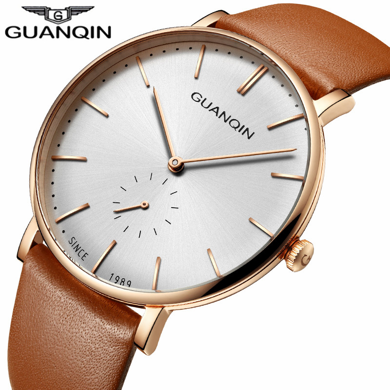 relogio masculino New GUANQIN Famous Brand Luxury Simple Design Men's Fashion Watches Men Casual Leather Ultra Thin Quartz Watch new guanqin luxury fashion casual quartz watch men sports watches luminous analog leather strap wristwatch relogio masculino
