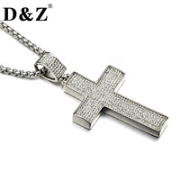 D Z Classic Iced Out Silver Color Men Cross Necklace Stainless Steel Paving CZ Crucifix Pendants