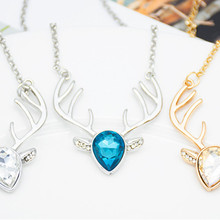 Zircon Love heart Elk Head Small Art Elf Antlers pendant Necklace Animal Fox Christmas Deer Lucky Amulet Jewelry